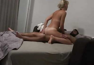 Milf gets interrupted by her stepdaughter while she sucks dick !