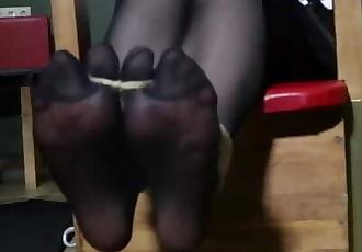 Tickling punishment for sloppy maid in nylon