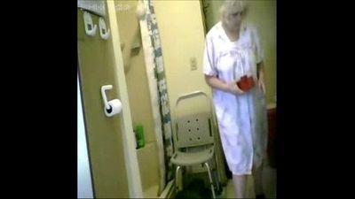 Woooow...watch my granny nude in shower. Hidden cam - 1 min 8 sec