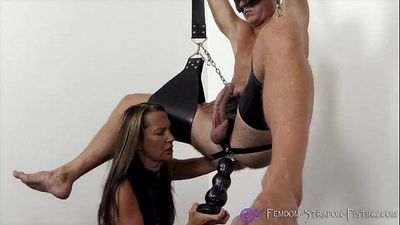 Femdom fucks slave with dildos and plugs from Mistress Angelina - 2 min
