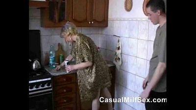 Stepmom from www.CasualMilfSex.com Kitchen Fuck - 1 min 25 sec