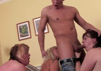 Three matures facialed by a young stud
