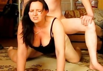 Horny amateur wife getting it good on the floor
