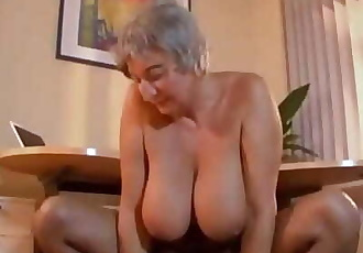 Busty Granny Seduces Young Guy With Her Big Tits 8 min 720p