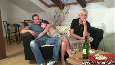 His wife comes in and sees him fucking her old mom - 6 min