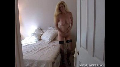 Big tits blonde MILF in stockings - 5 min