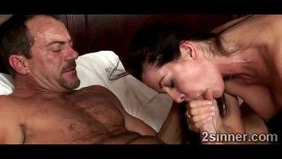Horny MILF devours husbands best friends huge cock - 4 min