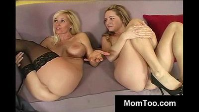 Blonde mom and teen licked toegther - 5 min