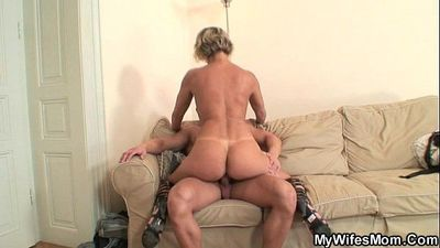 Hot mother in law enjoys cock riding - 6 min