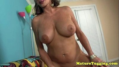 POV tugging granny with big massive fake tits - 5 min