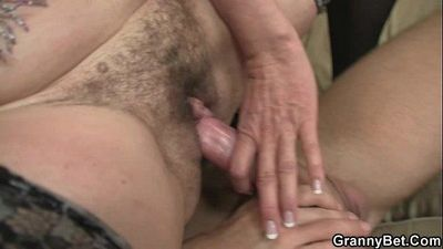 Old bitch rides his big rod - 6 min