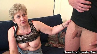 Grandma in black stockings sucks and rides at same time - 6 min