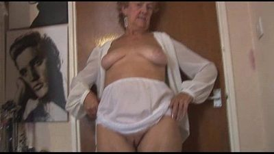 Blonde Granny in stockings posing and teasing - 6 min