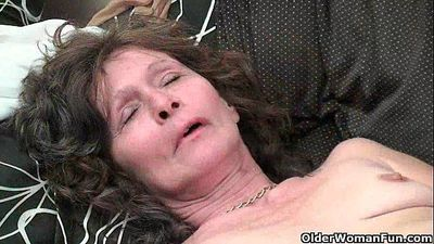 Saggy granny in stockings masturbates hairy pussy - 5 min HD
