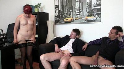 Cocksucking old woman in stockings riding cock - 6 min HD