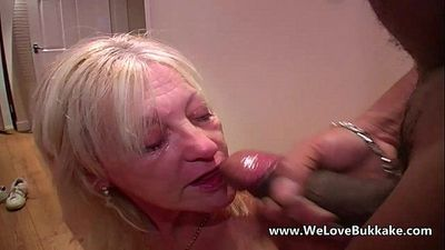 Older mature wife does bukkake - 7 min HD
