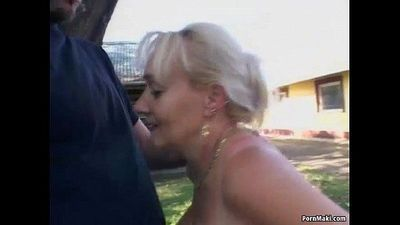 Busty granny gets pounded in the back yard - 6 min