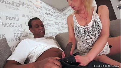 Lusty Grandma Ilona takes black cock - 5 min HD