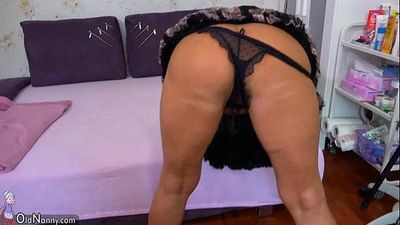 OldNanny Old mature doing striptease and masturbating pussy - 10 min HD