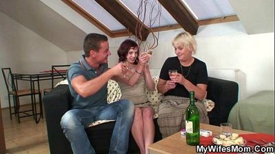 Boozed granny seduces her son in law - 6 min