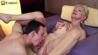 Horny granny fucking with young boy - 4 min