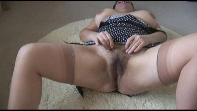 Curvy busty mature lady with big hairy bush strips and teases - 6 min