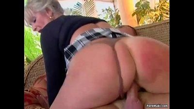 Busty mature loves young cock - 6 min