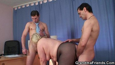 Grandma threesome at work place - 6 min HD