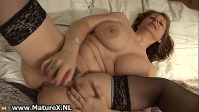Big tits mature mom with black stockings - 5 min