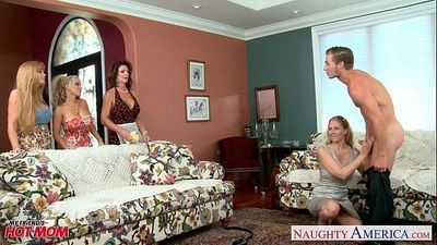 Moms Darla Crane, Holly Halston and Julia Ann sharing cockHD