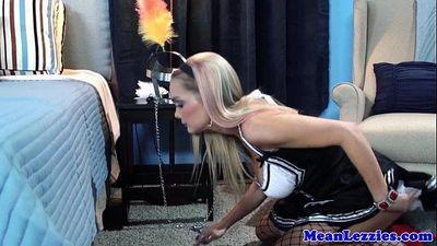 Lesbian frenchmaid Devon licking bosses boxHD