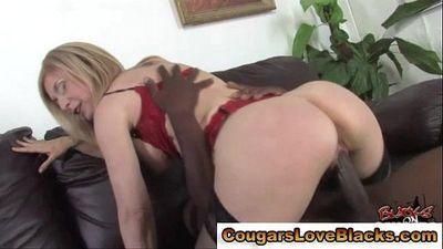 Blonde nasty interracial milf sucks and fucks