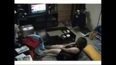 My mum in living room masturbates watching TV. Hidden cam - 1 min 43 sec