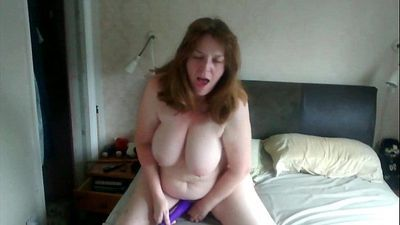 Jo riding her dildo with her wand vibe - 1 min 35 sec