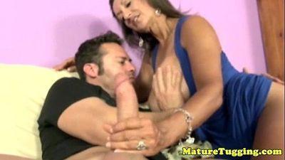 Bigtit cougar milf jerking hard cock - 6 min