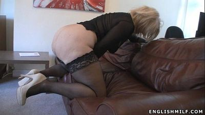 Big ass British milf in stockings with vibrator - 2 min