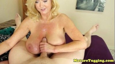 Bigtitted mature gives handjob for cumshot - 5 min