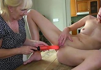Old lady and cute girl masturbating with dildo on the desk - 8 min HD