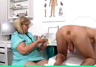 Fat big tits mom Anna is dirty doctor jerking off a boy - 6 min