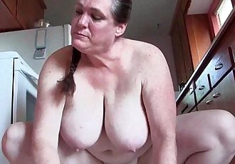 Granny with big tits cleaning the kitchen naked - 6 min HD