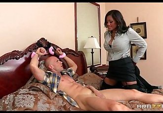 Big-tit brunette MILF comes home to find college boy in her bed - 7 min HD