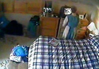 My kinky mom masturbates watching my porno. Hidden cam - 2 min