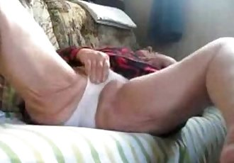 Hidden cam catches my old mom fingering on couch - 1 min 27 sec