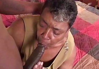 Ebony grandma loves big black cock - 6 min