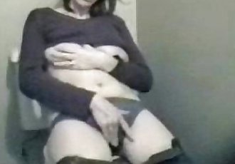 My horny mum masturbating in toilet. Hidden cam - 32 sec