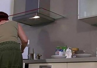 Lesbian fun with mom and at the kitchen - 6 min