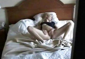 Cute mom masturbating caught by nasty son. Hidden cam - 2 min
