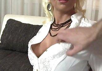 Busty blonde MILF gets fucked in fishnet stockingsHD