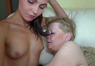 Nice young woman and old granny masturbated - 8 min HD