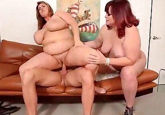 2 Big Tit BBW MILFS Take on Hubby Stud Cock - 2 min